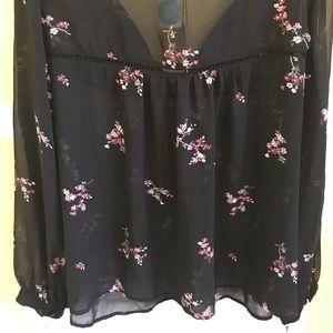 Michel Studio Tops - NWT Black Floral Rudy Lattice Blouse  16W